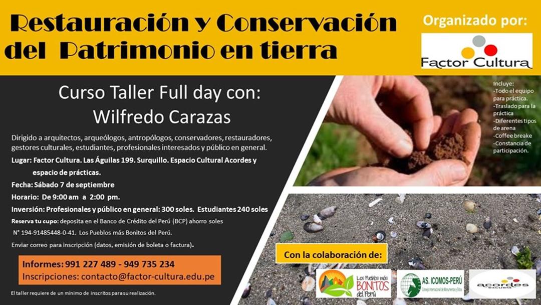 taller restauración y conservación del patrimonio en tierra pueblos más bonitos del perú